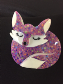 Sacha The Sleeping Fox- limited edition Fox Brooch by Erstwilder (SOLD)